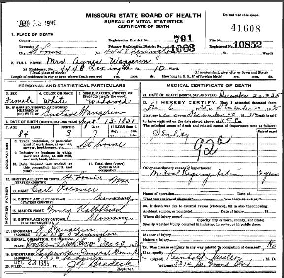 Agnes Wangerin death certificate