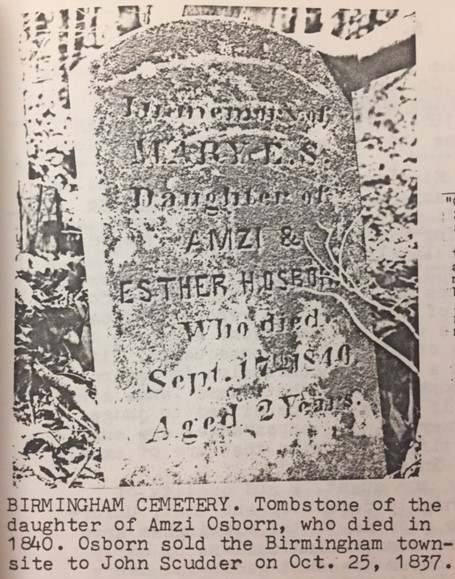 Amzi Osborn gravestone Birmingham
