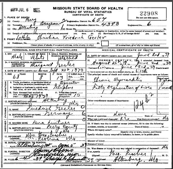 Christian Gerler death certificate