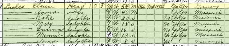 Claus Luehrs 1920 census Salem Township MO
