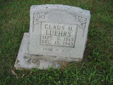 Claus Luehrs gravestone Salem Farrar MO