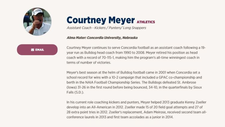 Courtney Meyer football bio