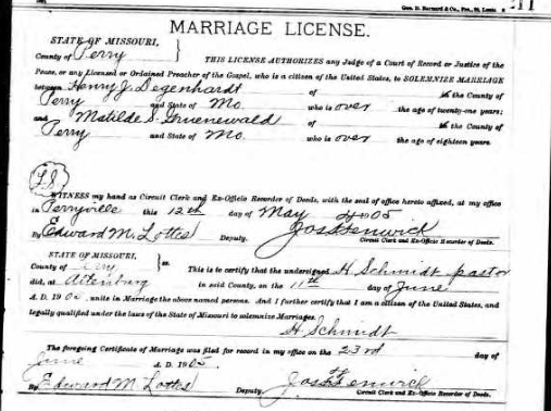 Degenhardt Gruenwald marriage license