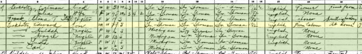 Edward Berkholz 1910 census Lake Township Berrien County MI