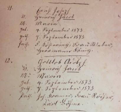 Ernst Joseph and Gottlob Adolph Jacob baptism record Trinity Altenburg MO
