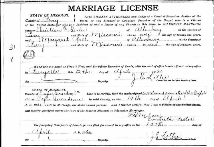 Gerler Rall marriage license