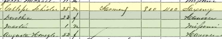 Gottlob Schuessler 1860 census Brazeau Township MO