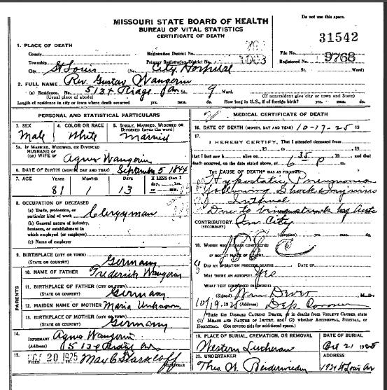Gustav Wangerin death certificate