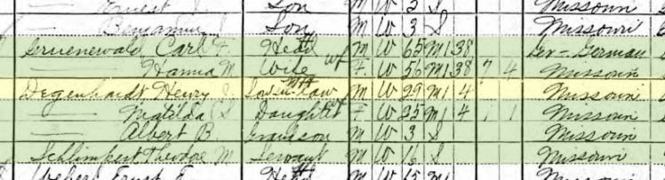 Henry Degenhardt 1910 census Brazeau Township MO