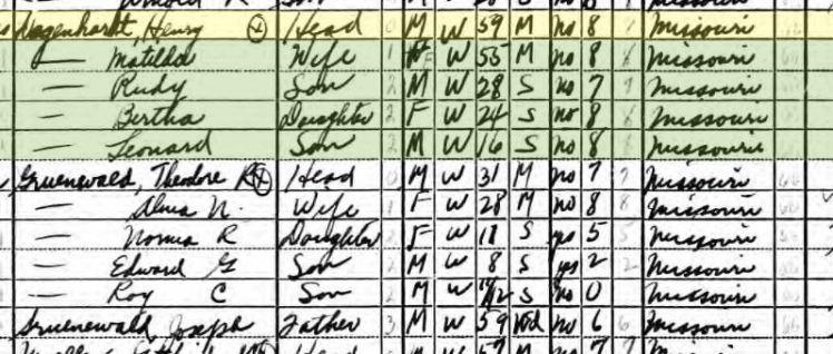 Henry Degenhardt 1940 census Brazeau Township MO