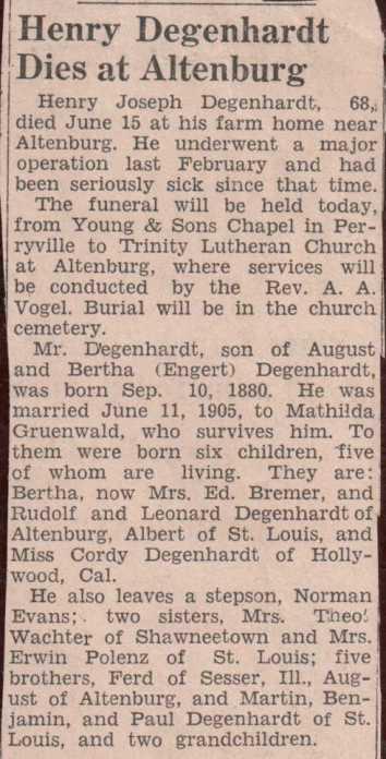 Henry Degenhardt obituary