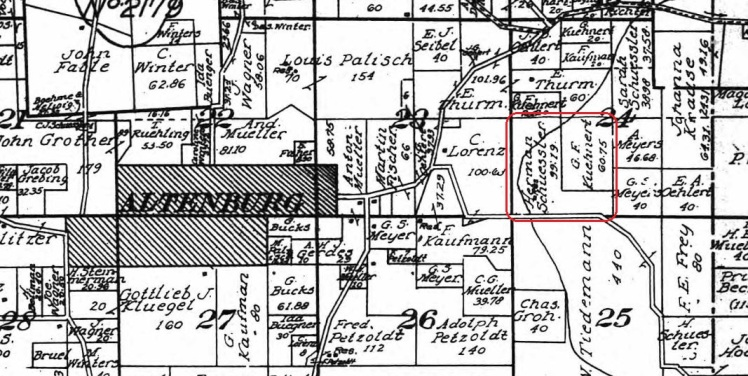 Herman Schuessler land map 1915