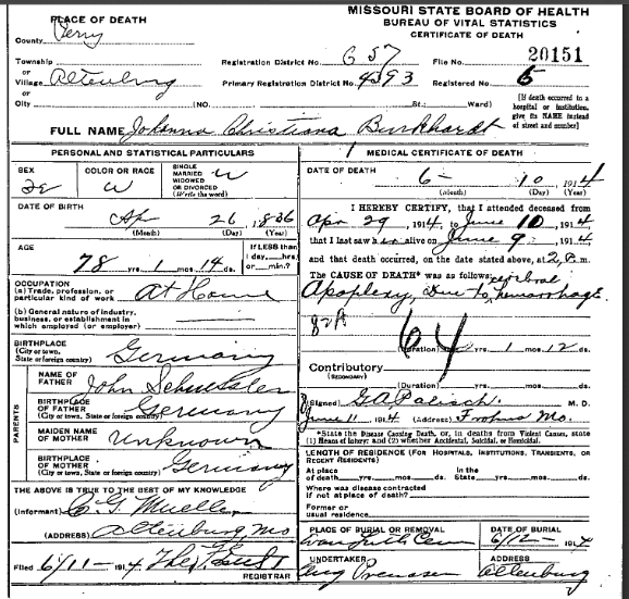 Johanna Burkhardt death certificate