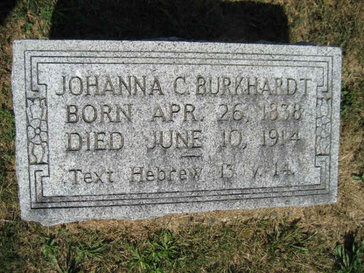 Johanna Burkhardt gravestone Trinity Altenburg MO