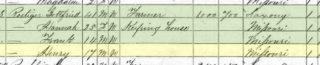 Johanna Hinkelmann Roetiger 1870 census Brazeau Township MO