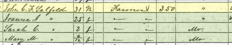 John Saalfeld 1850 census Brazeau Township MO