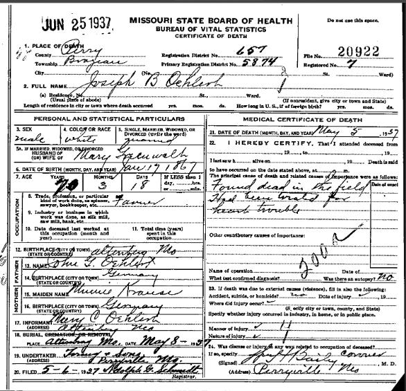 Joseph Oehlert death certificate