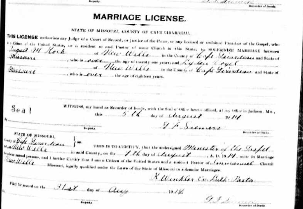 Koch Vogel marriage license