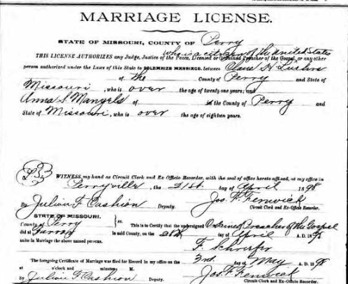 Luehrs Mangels marriage license