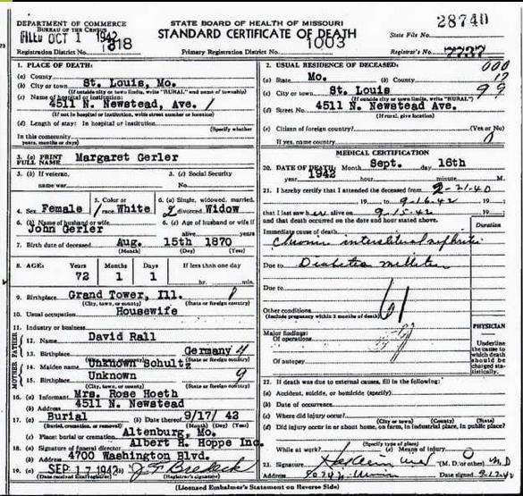 Margaret Gerler death certificate