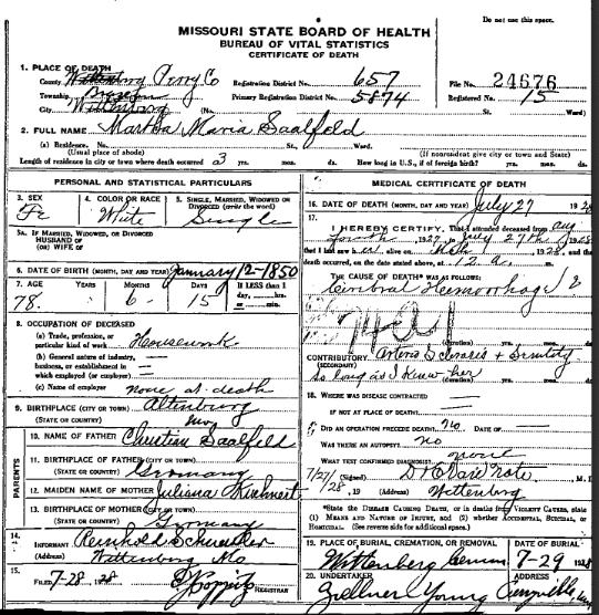 Martha Saalfeld death certificate