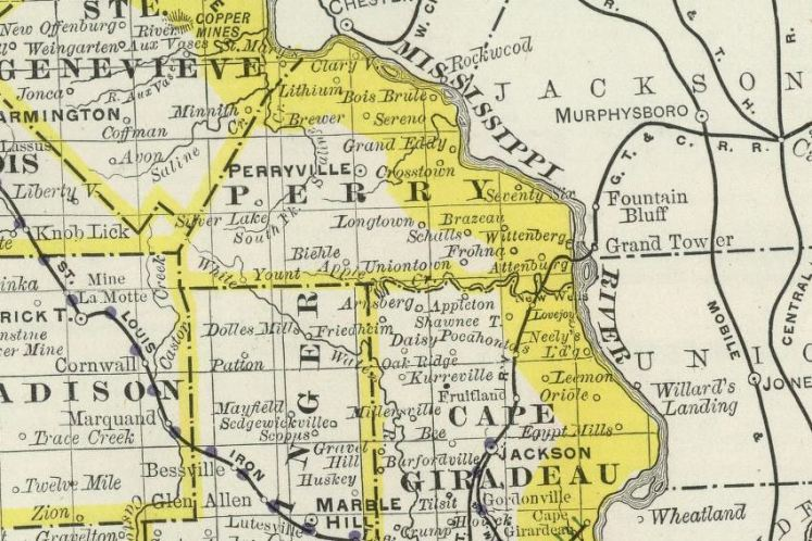 Missouri map including Birmingham 1889
