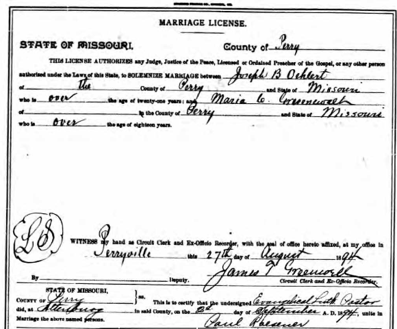 Oehlert Gruenwald marriage license
