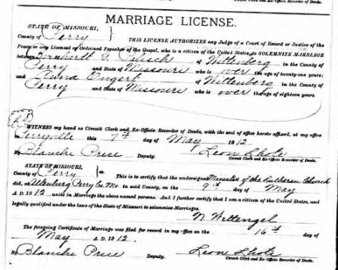 Palisch Engert marriage license