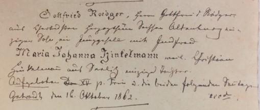 Roediger Hinkelmann marriage record Trinity Altenburg MO