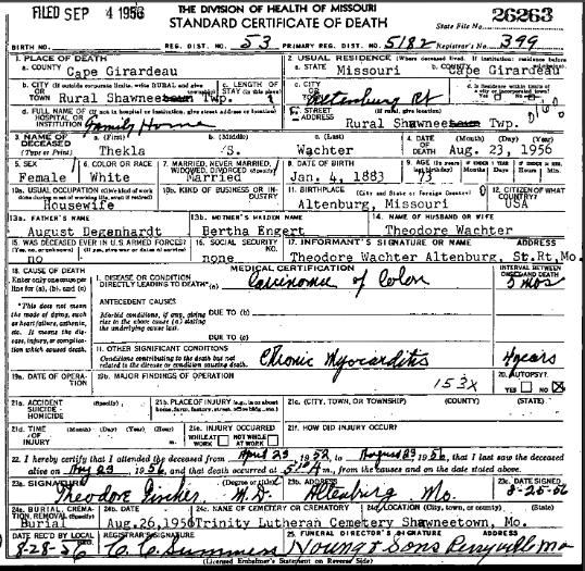 Thekla Wachter death certificate