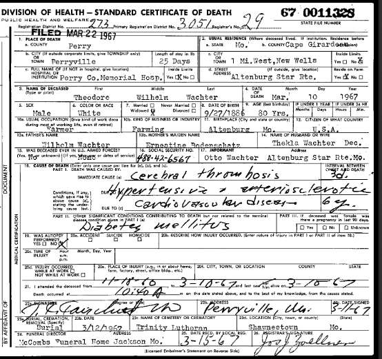 Theodore Wachter death certificate