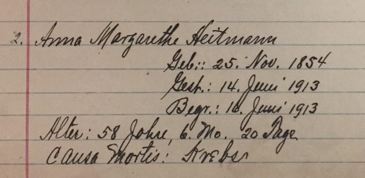 Anna Margaretha Heitmann death record Christ Jacob IL