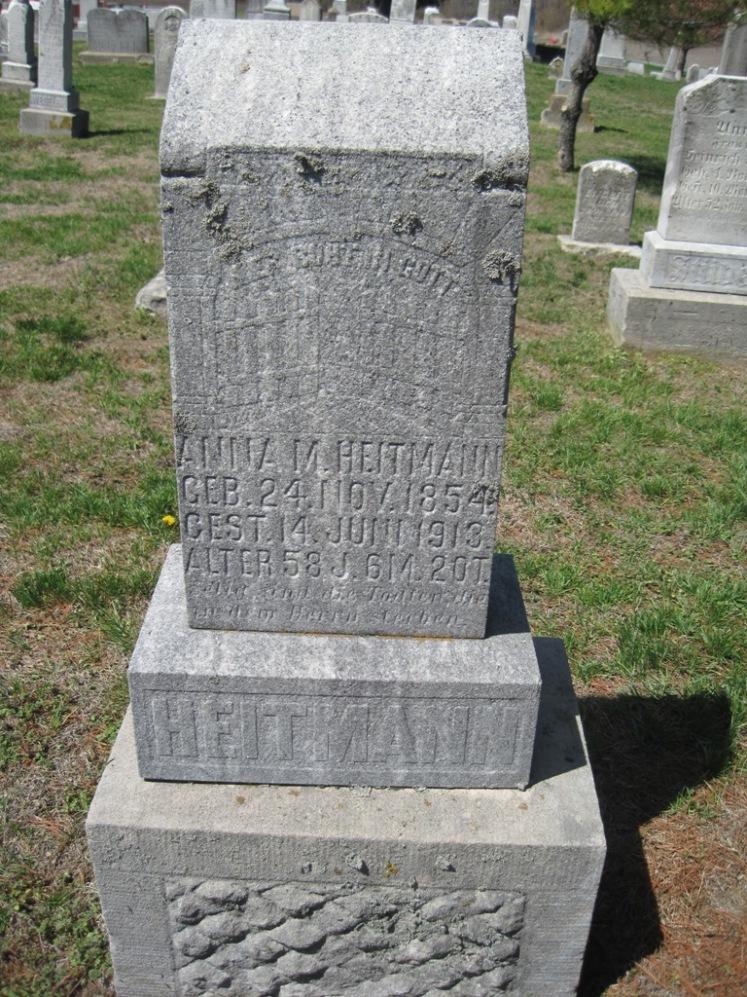 Anna Margaretha Heitmann gravestone Christ Jacob IL