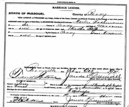 Bachmann Steffens marriage license