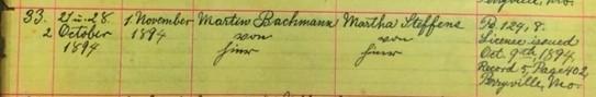 Bachmann Steffens marriage record Salem Farrar MO