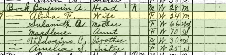 Benjamin Bock 1920 census Union Township MO