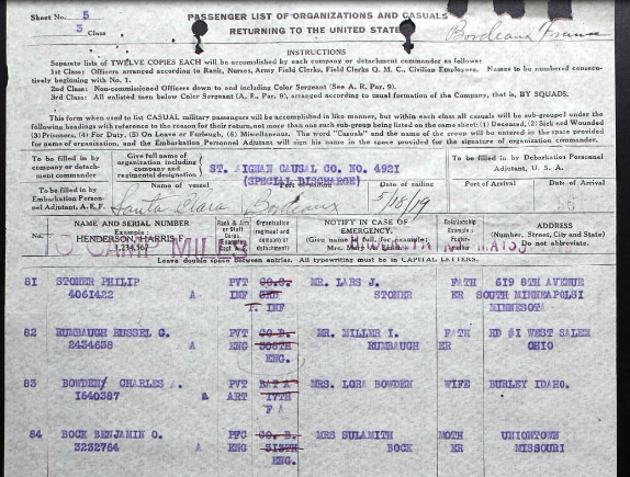 Benjamin Bock returning transport list 1 WWI