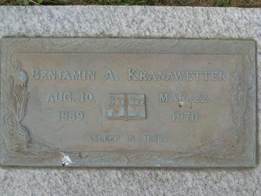 Benjamin Kranawetter gravestone Concordia Frohna MO