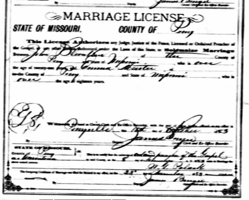 Blanken Meister marriage license