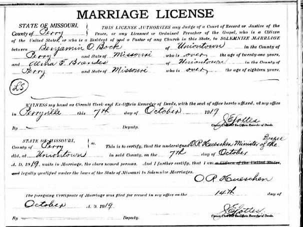 Bock Brandes marriage license