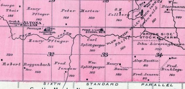 Carl Splittgerber land map 1898 Plum Creek Township NE
