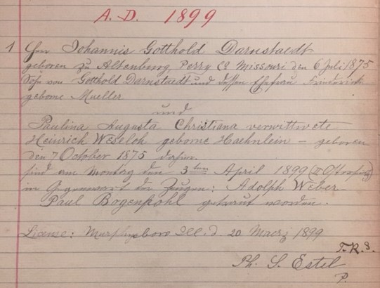 Darnstaedt Haehnlein marriage record Christ Jacob IL