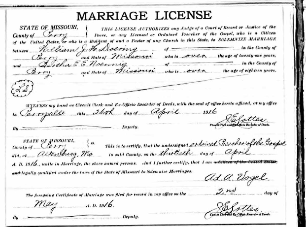 Doering Noennig marriage license