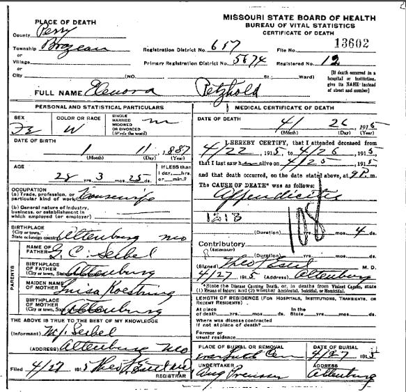 Eleanora Petzoldt death certificate