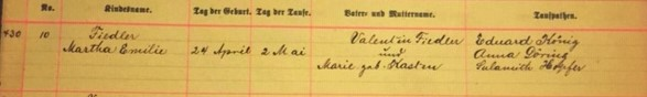 Emilie Fiedler baptism record Immanuel New Wells MO