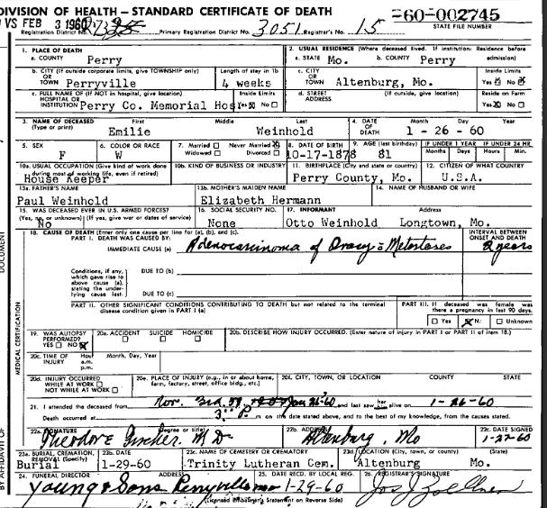 Emilie Weinhold death certificate