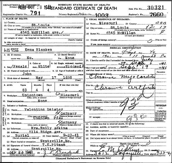 Emma Blanken death certificate