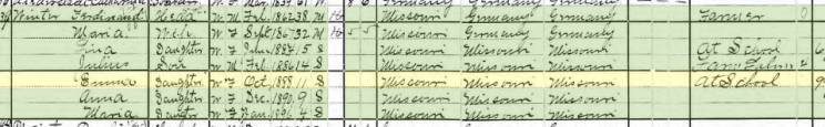Emma Winter 1900 census Altenburg MO