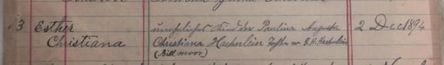 Esther Haehnlein baptism record Christ Jacob IL