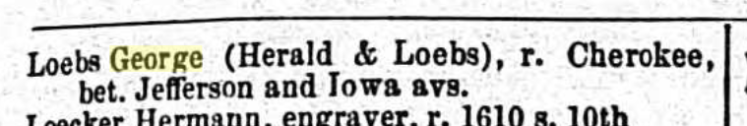 George Loebs 1867 St. Louis city directory